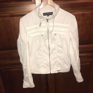 Blanc Noir faux leather Ivory Moto Racer Jacket